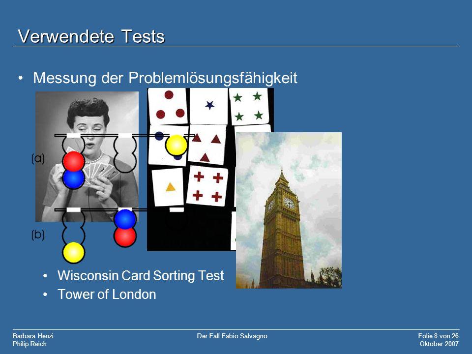 Verwendete Tests Messung der Problemlösungsfähigkeit