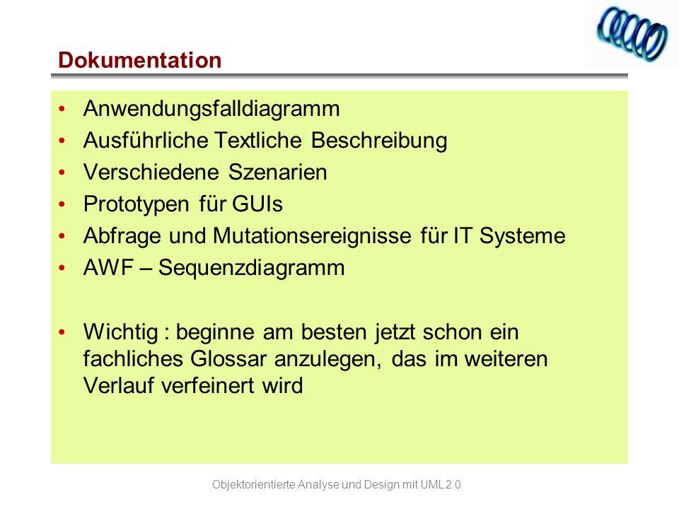 Dokumentation Anwendungsfalldiagramm. Ausführliche Textliche Beschreibung. Verschiedene Szenarien.
