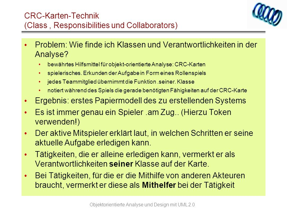 CRC-Karten-Technik (Class , Responsibilities und Collaborators)