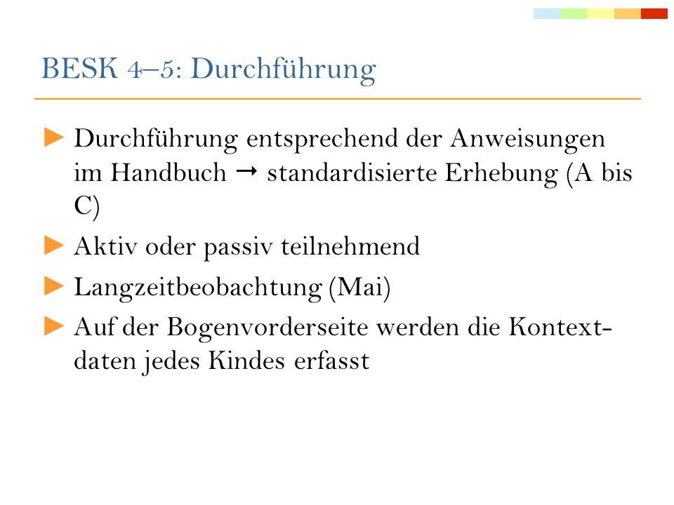 BESK 4–5: DurchführungDurchführung entsprechend der Anweisungen im Handbuch  standardisierte Erhebung (A bis C)