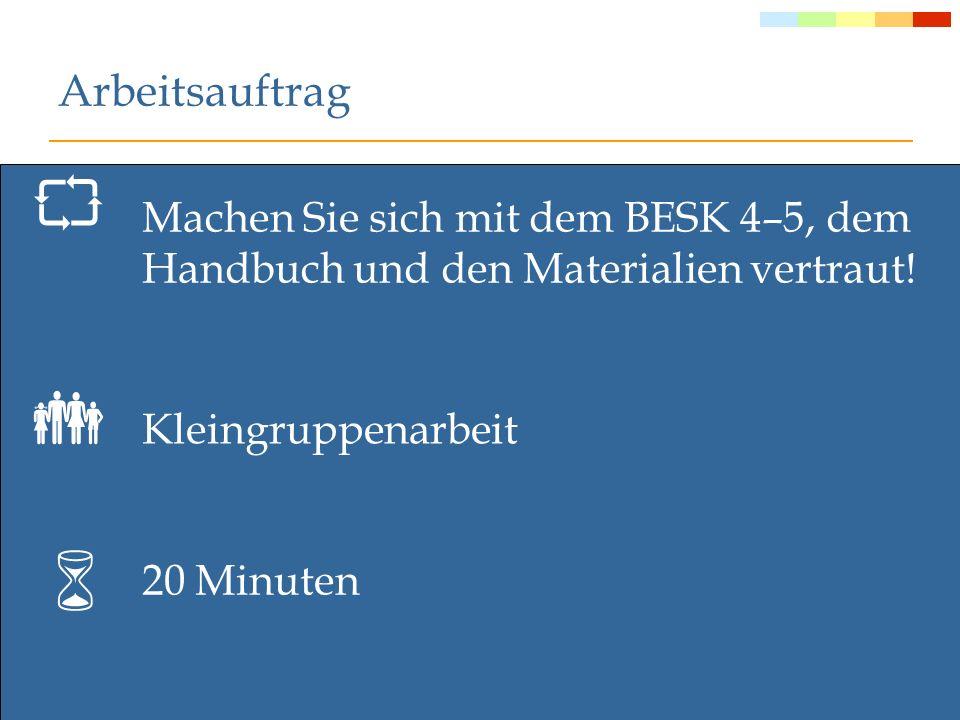 Arbeitsauftrag Machen Sie sich mit dem BESK 4–5, dem Handbuch und den Materialien vertraut!  Kleingruppenarbeit.