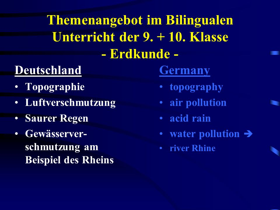 Themenangebot im Bilingualen Unterricht der 9. + 10