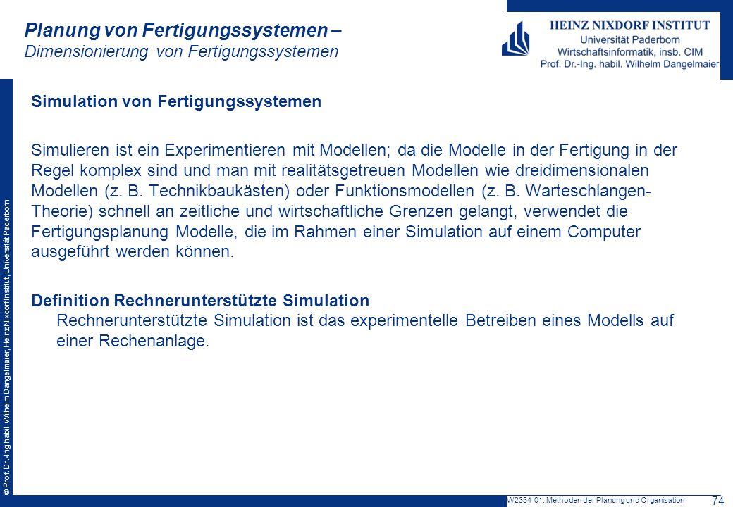 Planung von Fertigungssystemen – Dimensionierung von Fertigungssystemen