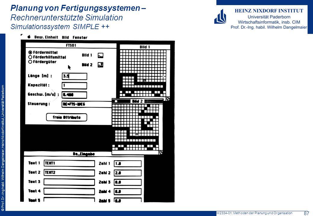 Planung von Fertigungssystemen – Rechnerunterstützte Simulation Simulationssystem SIMPLE ++