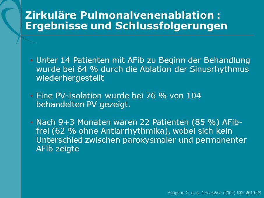 Zirkuläre Pulmonalvenenablation : Ergebnisse und Schlussfolgerungen