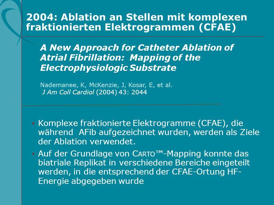 2004: Ablation an Stellen mit komplexen fraktionierten Elektrogrammen (CFAE)