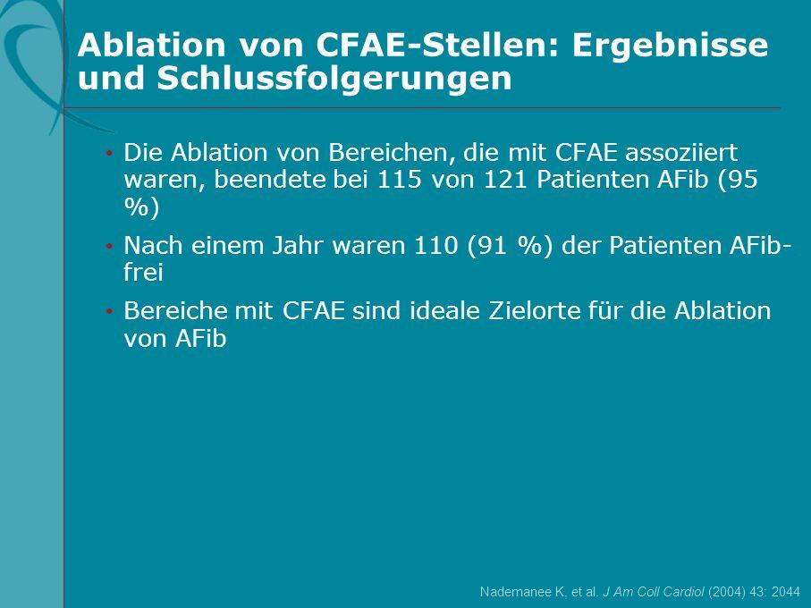 Ablation von CFAE-Stellen: Ergebnisse und Schlussfolgerungen