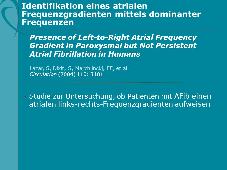 Identifikation eines atrialen Frequenzgradienten mittels dominanter Frequenzen