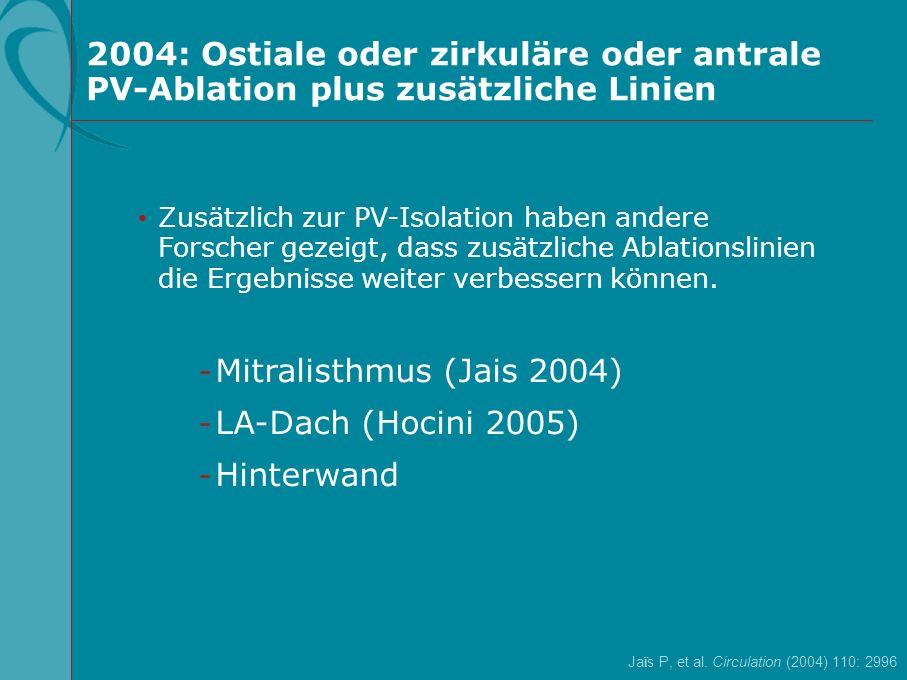 2004: Ostiale oder zirkuläre oder antrale PV-Ablation plus zusätzliche Linien