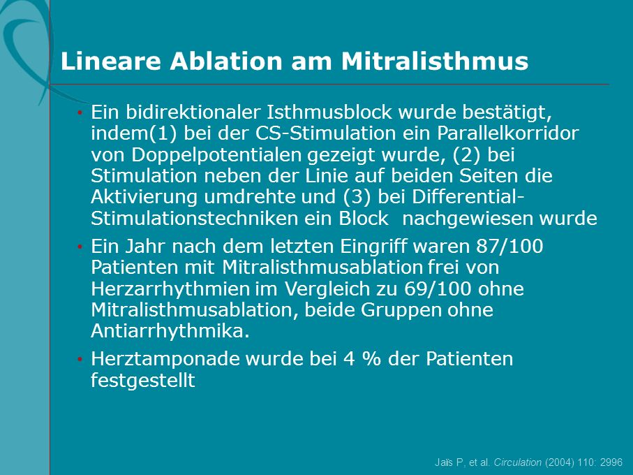 Lineare Ablation am Mitralisthmus