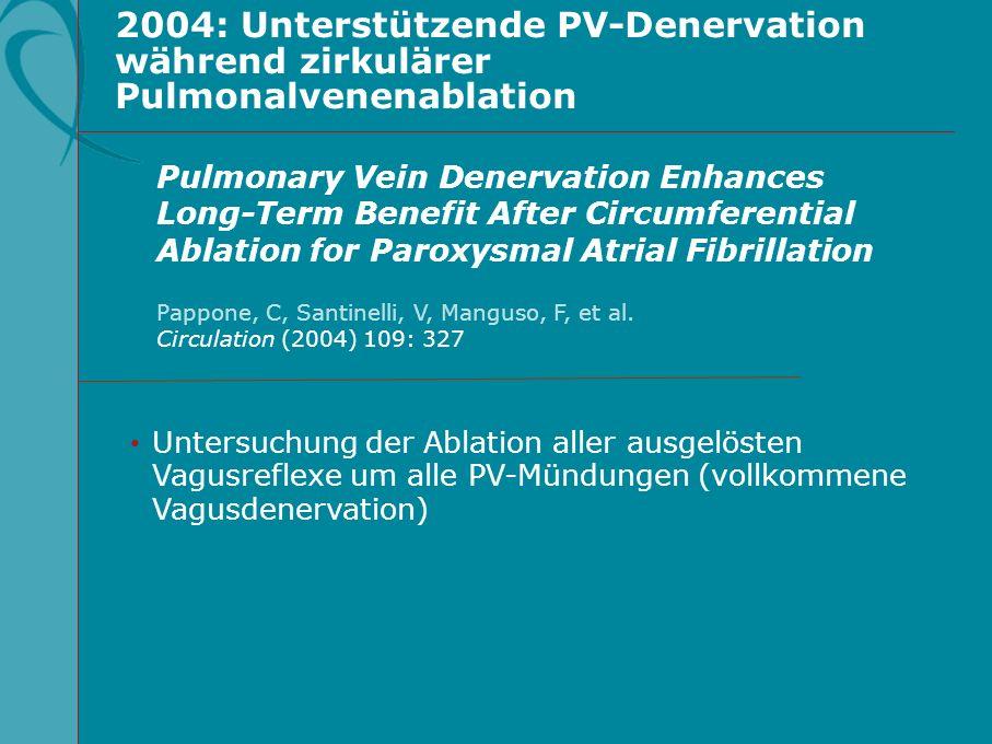 2004: Unterstützende PV-Denervation während zirkulärer Pulmonalvenenablation