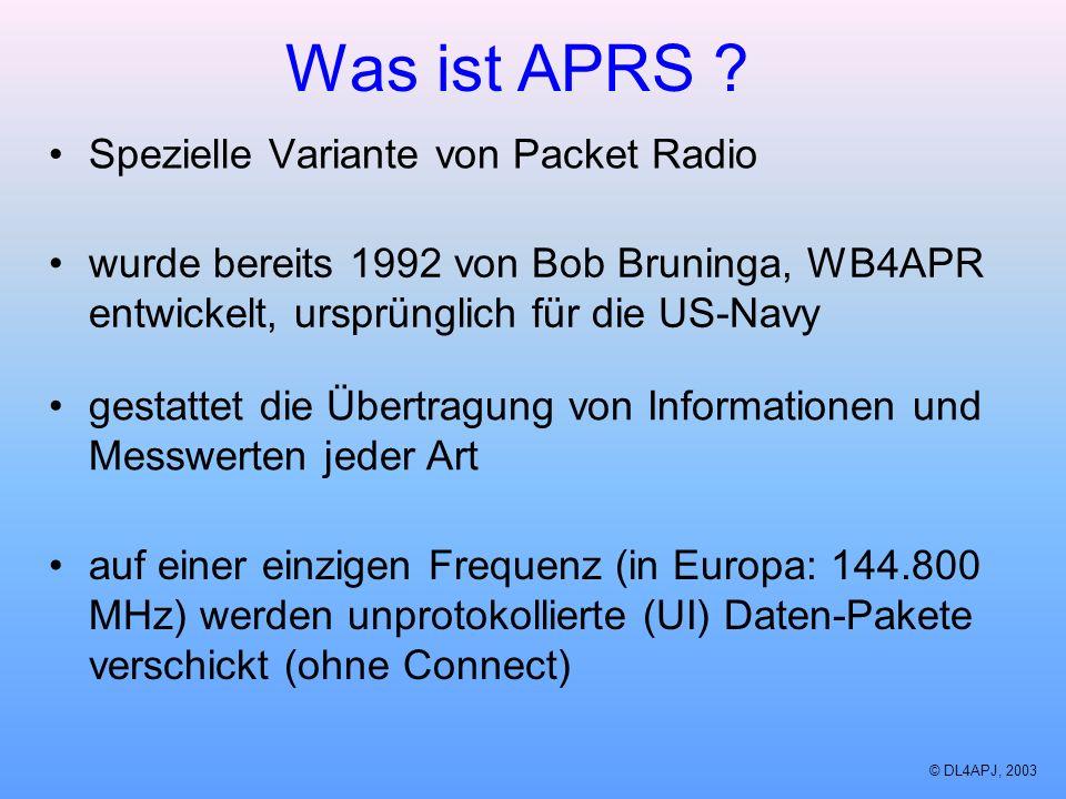 Was ist APRS Spezielle Variante von Packet Radio