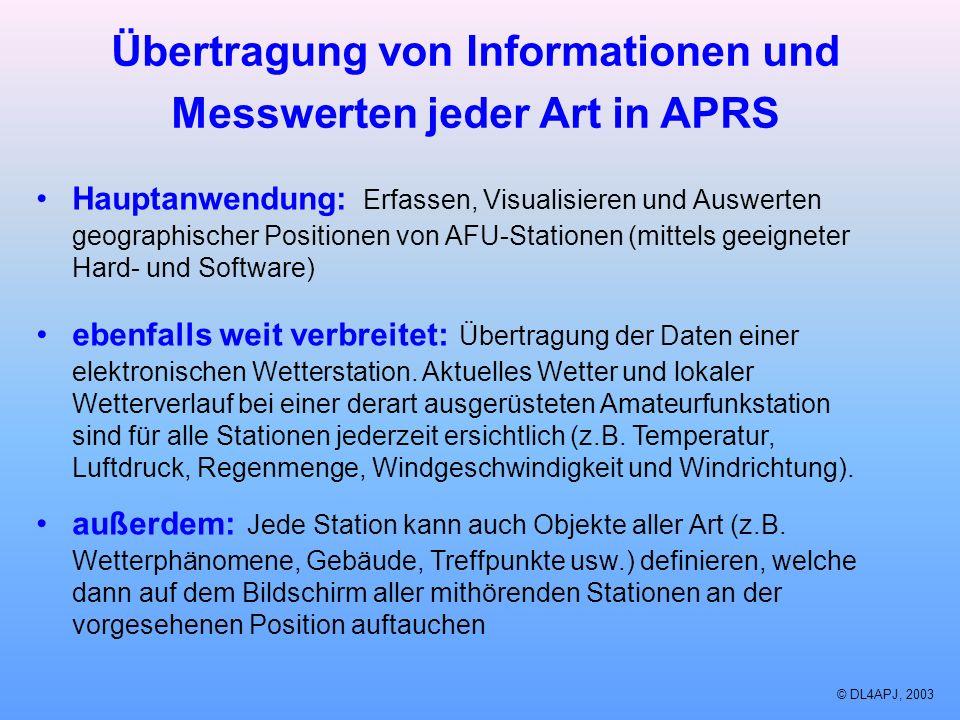 Übertragung von Informationen und Messwerten jeder Art in APRS