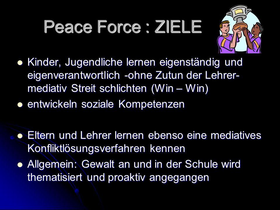Peace Force : ZIELE Kinder, Jugendliche lernen eigenständig und eigenverantwortlich -ohne Zutun der Lehrer- mediativ Streit schlichten (Win – Win)