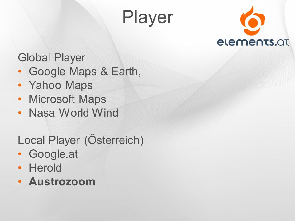 Player Global Player Google Maps & Earth, Yahoo Maps Microsoft Maps