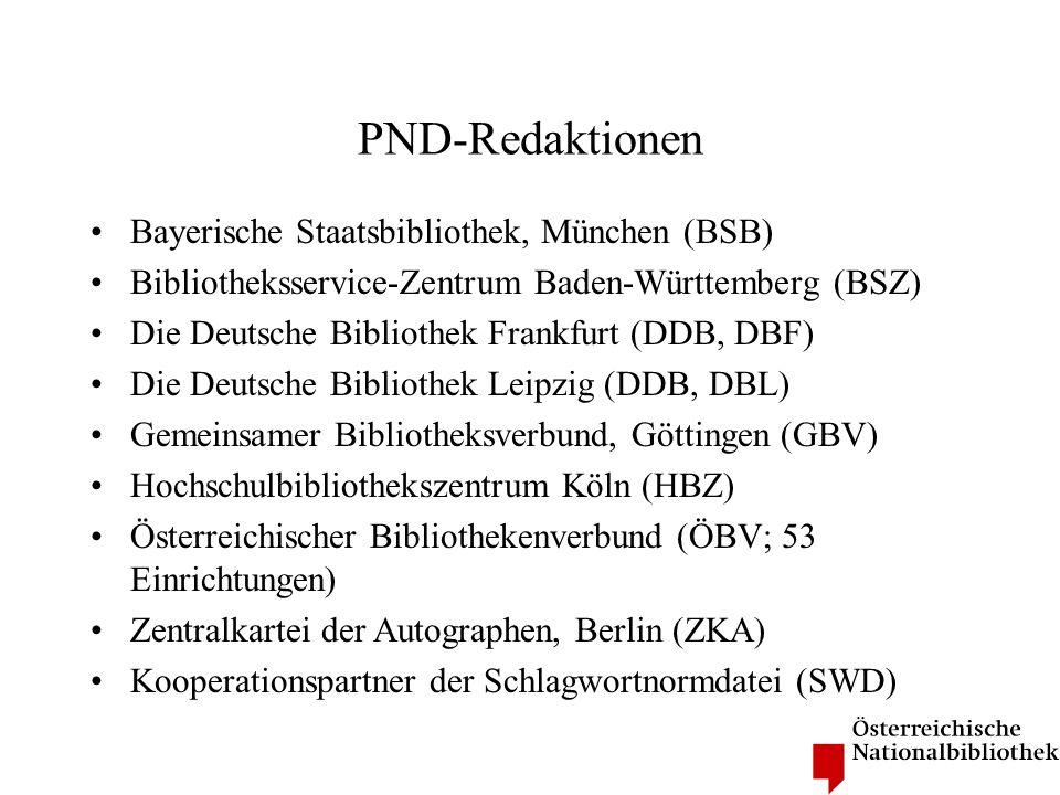PND-Redaktionen Bayerische Staatsbibliothek, München (BSB)