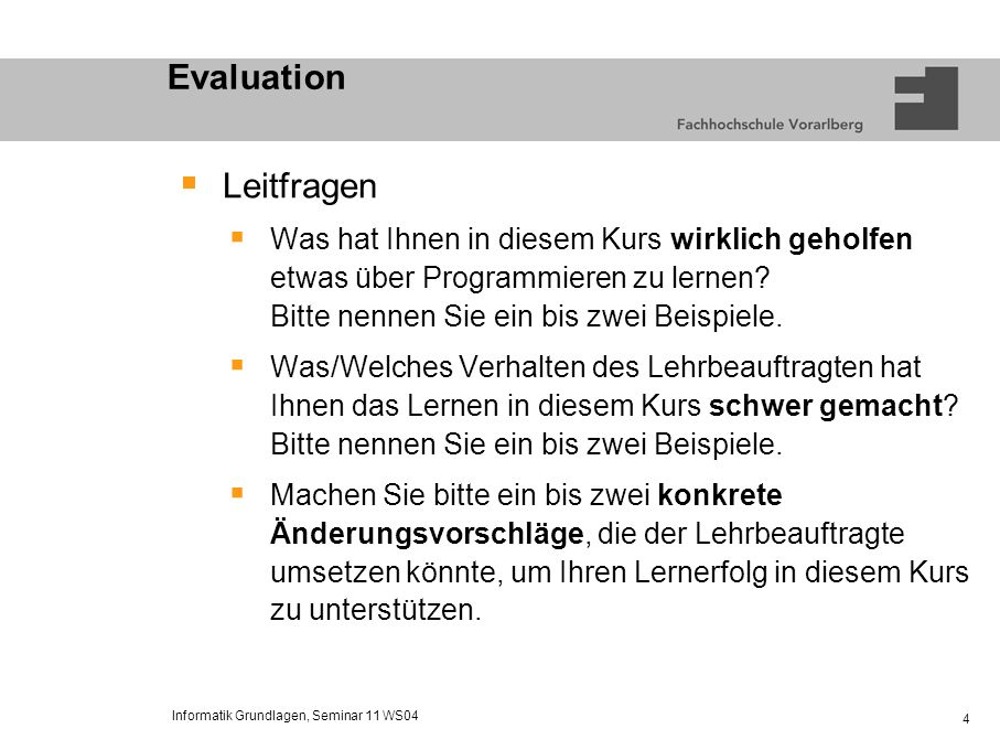 Evaluation Leitfragen