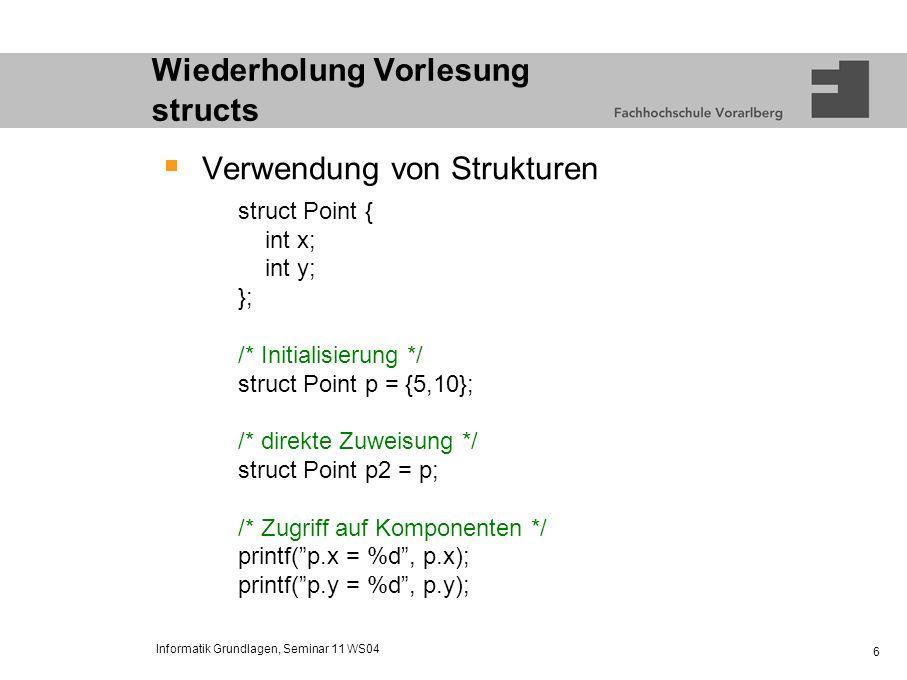 Wiederholung Vorlesung structs