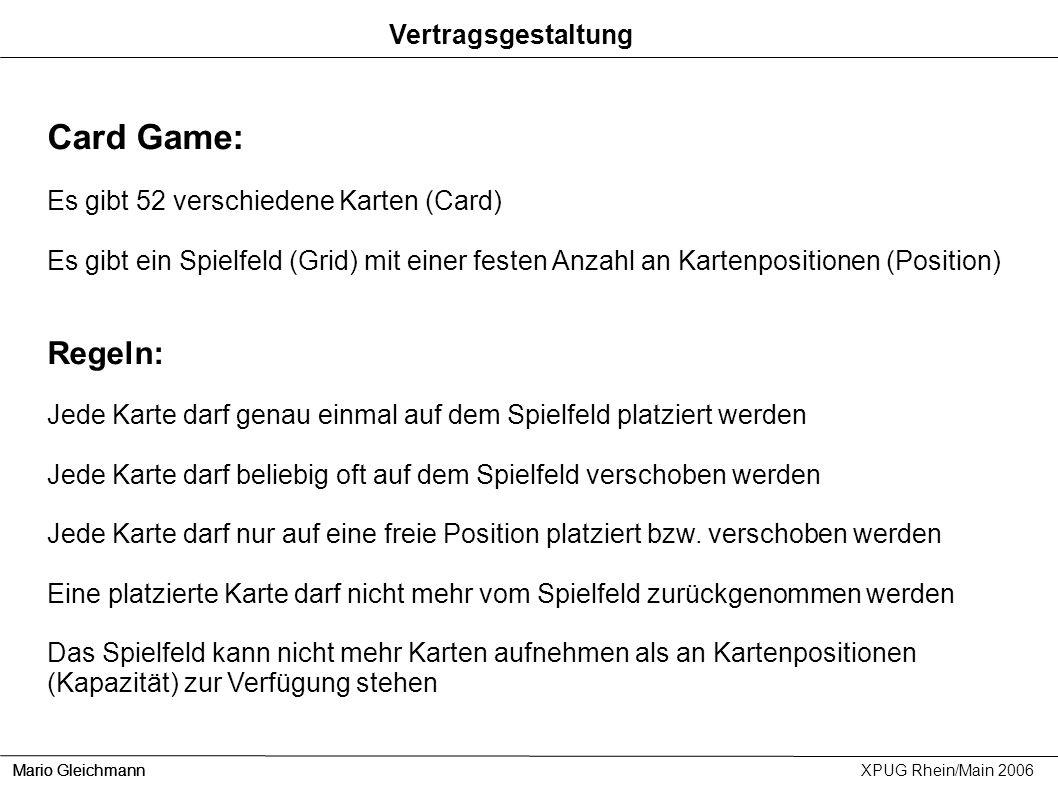 Card Game: Regeln: Vertragsgestaltung