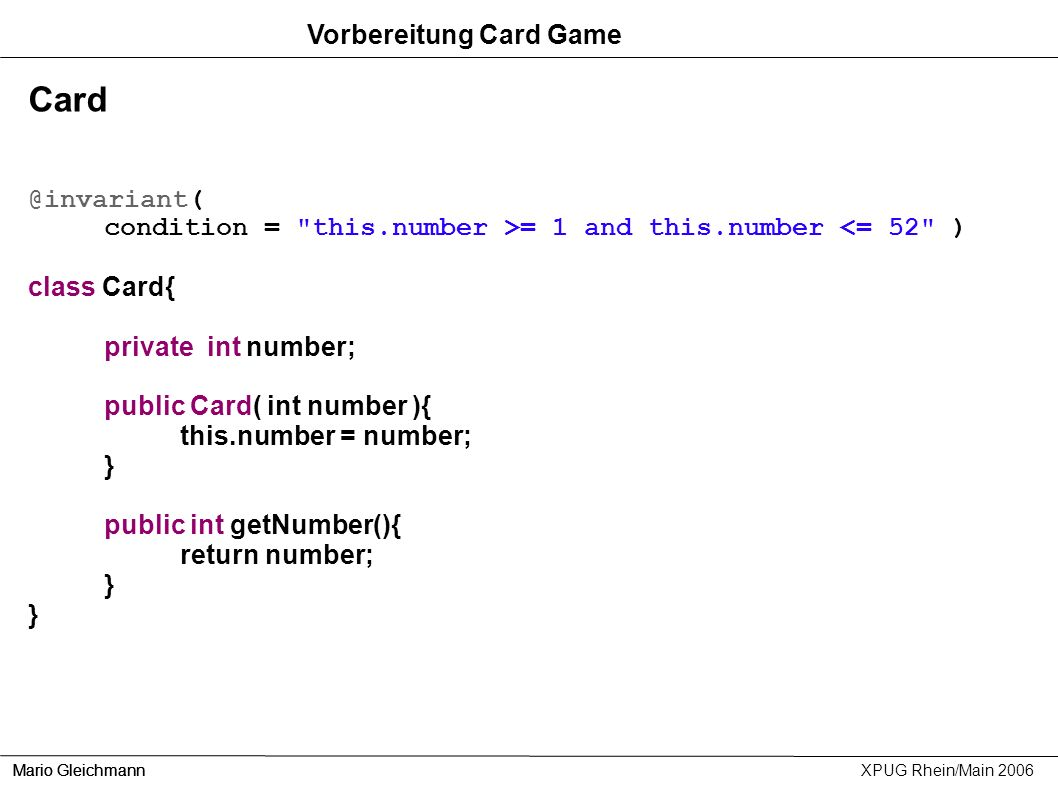 Card Vorbereitung Card Game @invariant(
