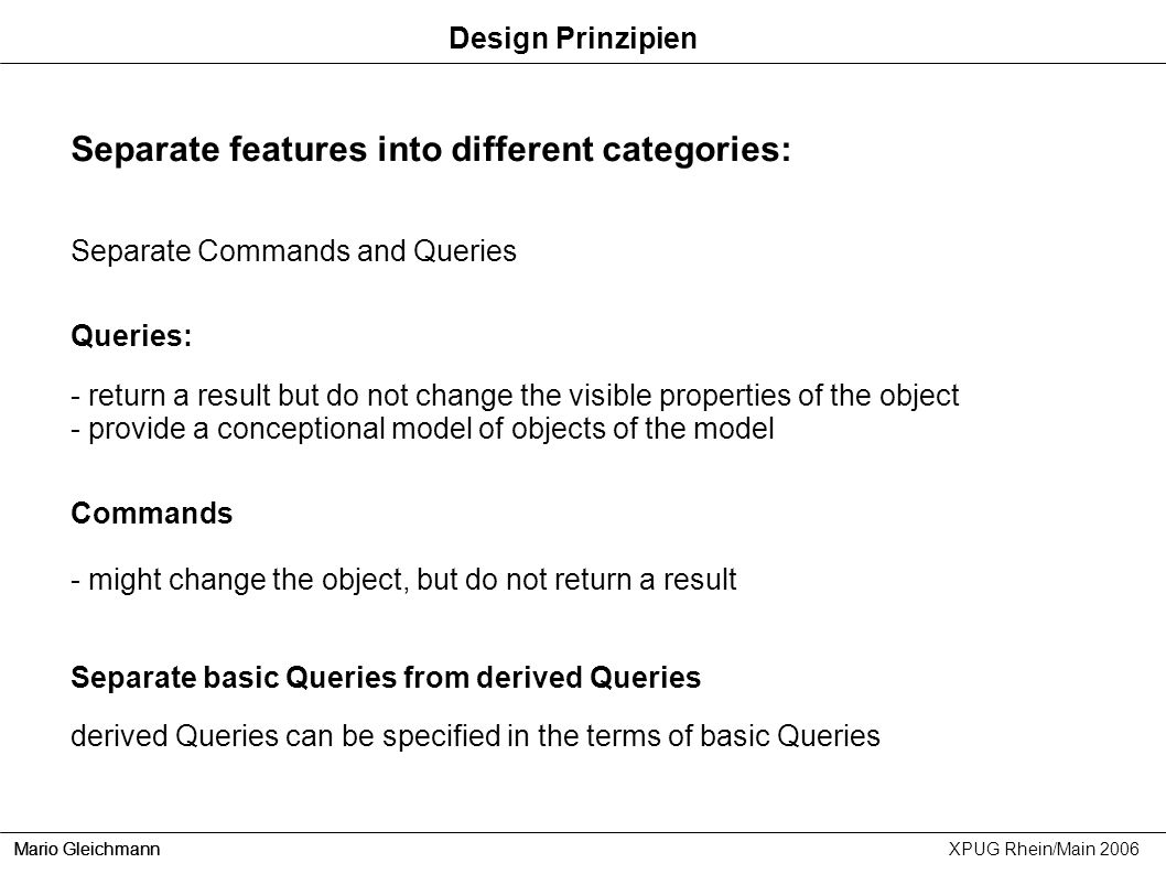 Separate features into different categories: