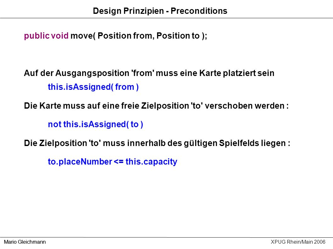 Design Prinzipien - Preconditions