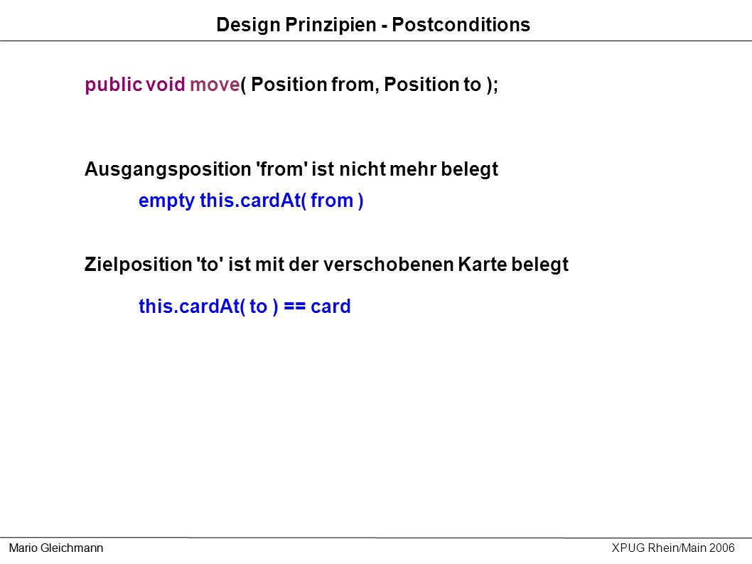 Design Prinzipien - Postconditions
