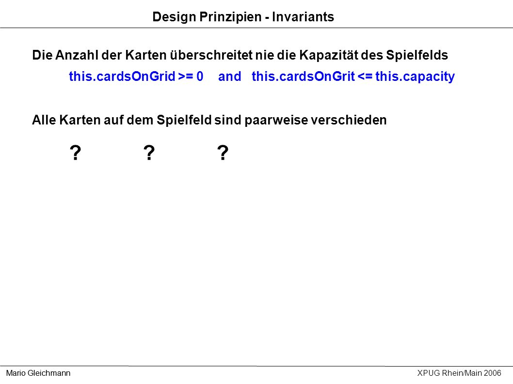 Design Prinzipien - Invariants