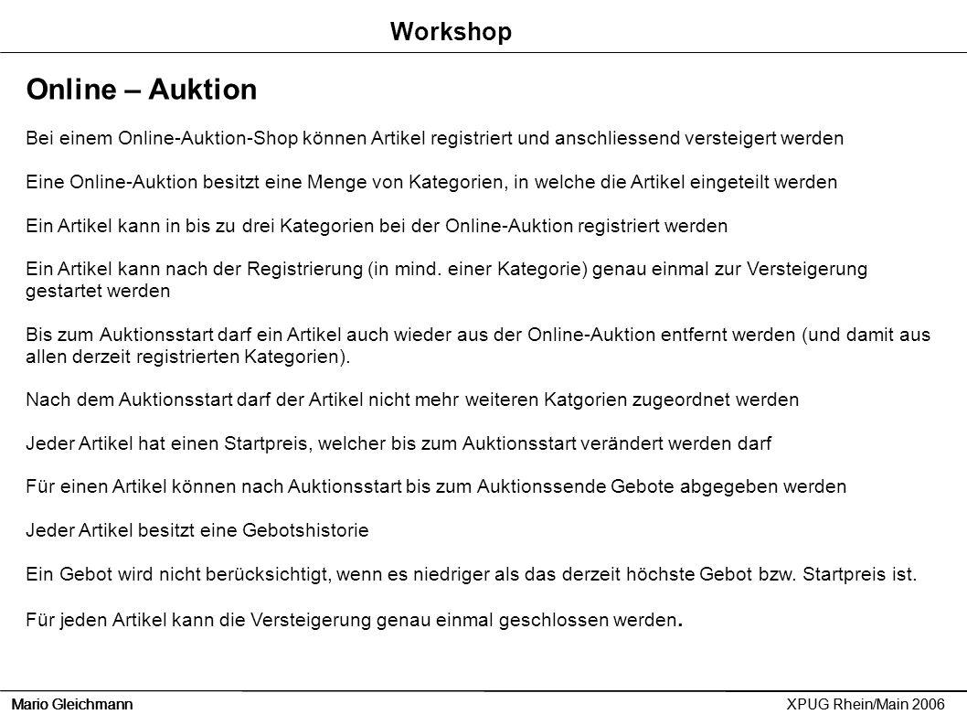 Online – Auktion Workshop