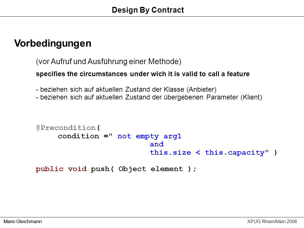 Vorbedingungen Design By Contract