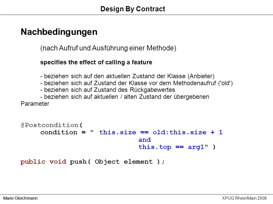 Nachbedingungen Design By Contract