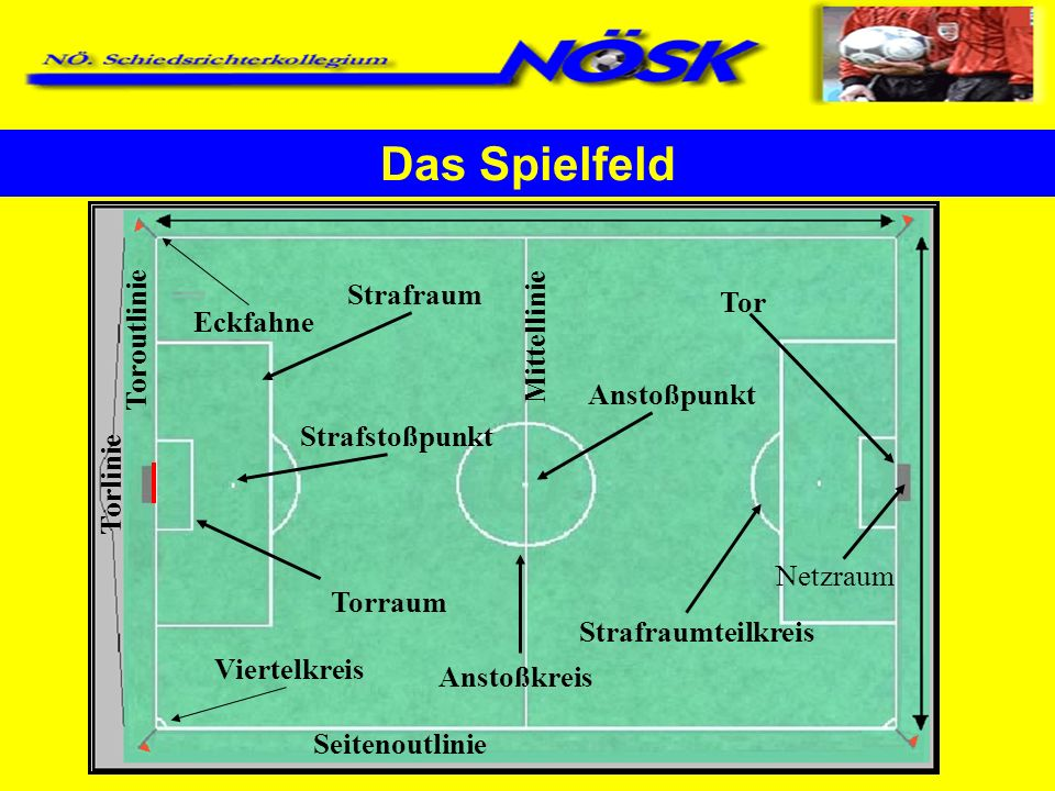 Das Spielfeld Strafraum Mittellinie Tor Toroutlinie Eckfahne