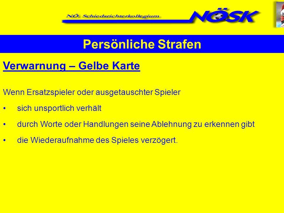 Persönliche Strafen Verwarnung – Gelbe Karte