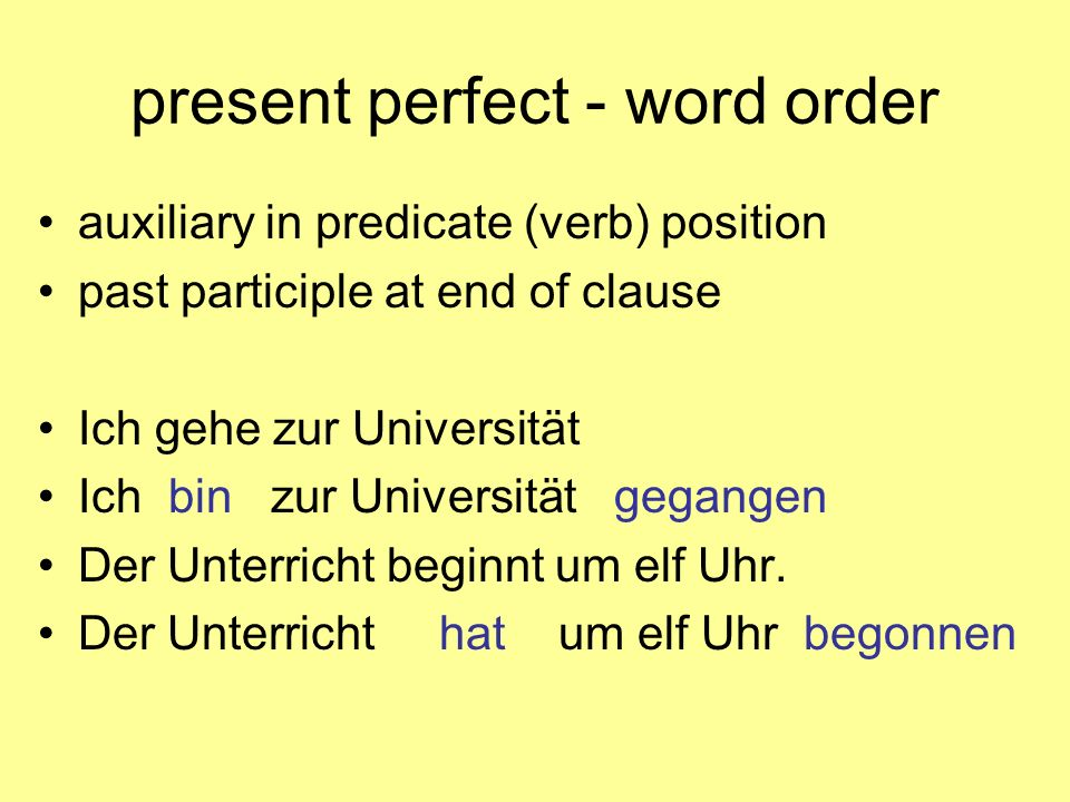 present perfect - word order