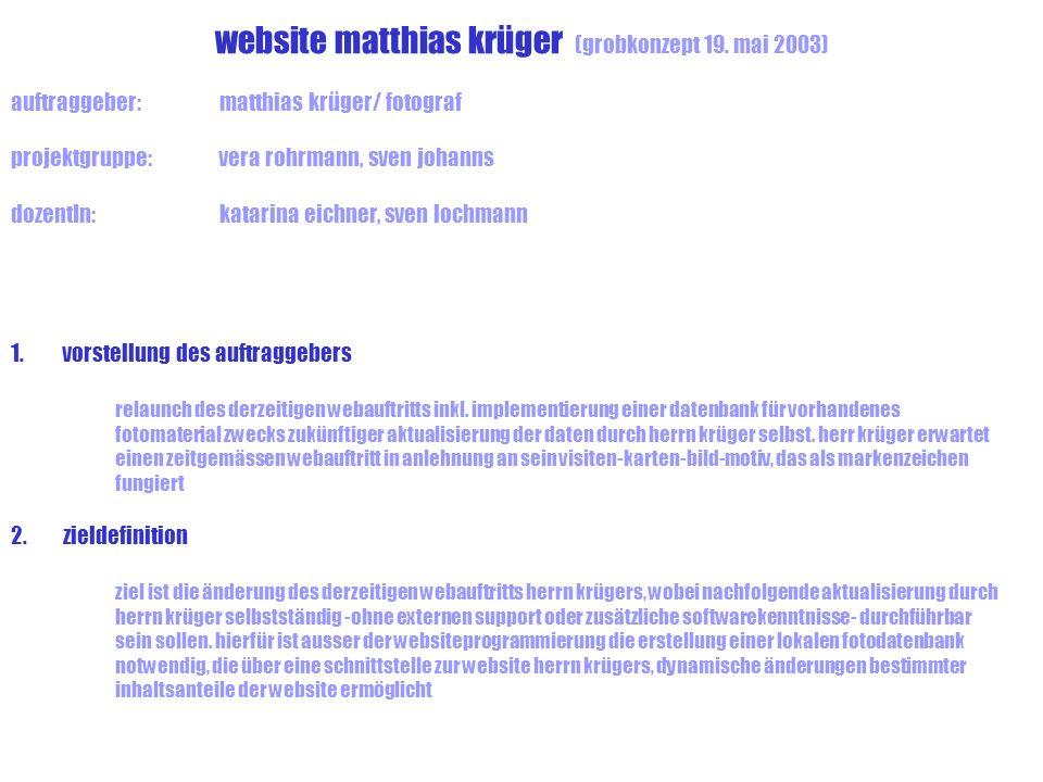 website matthias krüger (grobkonzept 19. mai 2003)
