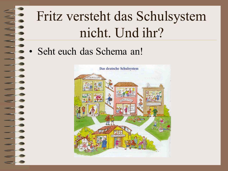 Fritz versteht das Schulsystem nicht. Und ihr