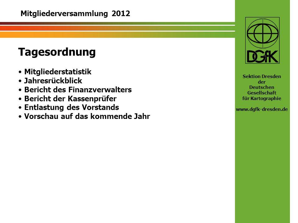 Tagesordnung Mitgliederversammlung 2012 Mitgliederstatistik