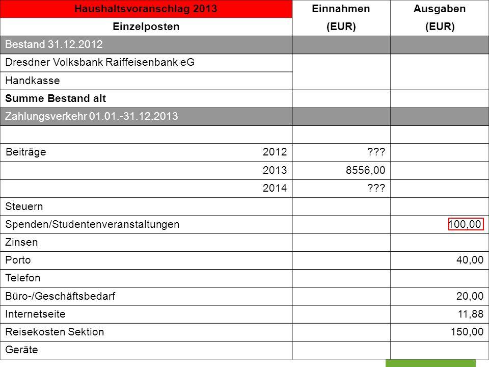 Haushaltsvoranschlag 2013