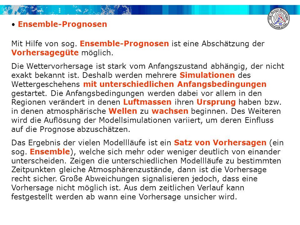 Ensemble-Prognosen Mit Hilfe von sog. Ensemble-Prognosen ist eine Abschätzung der Vorhersagegüte möglich.
