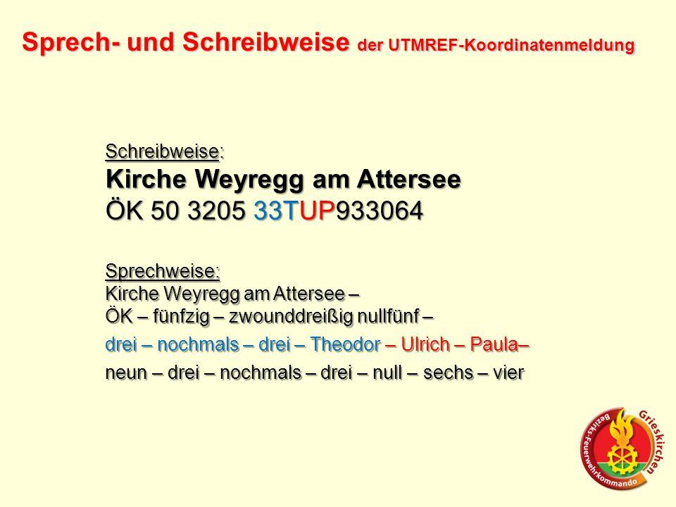 Sprech- und Schreibweise der UTMREF-Koordinatenmeldung