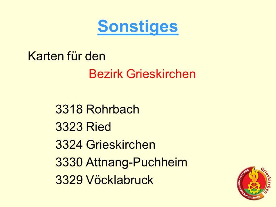 Sonstiges Karten für den Bezirk Grieskirchen 3318 Rohrbach 3323 Ried