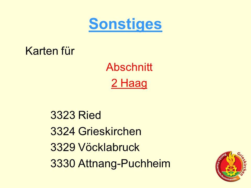 Sonstiges Karten für Abschnitt 2 Haag 3323 Ried 3324 Grieskirchen