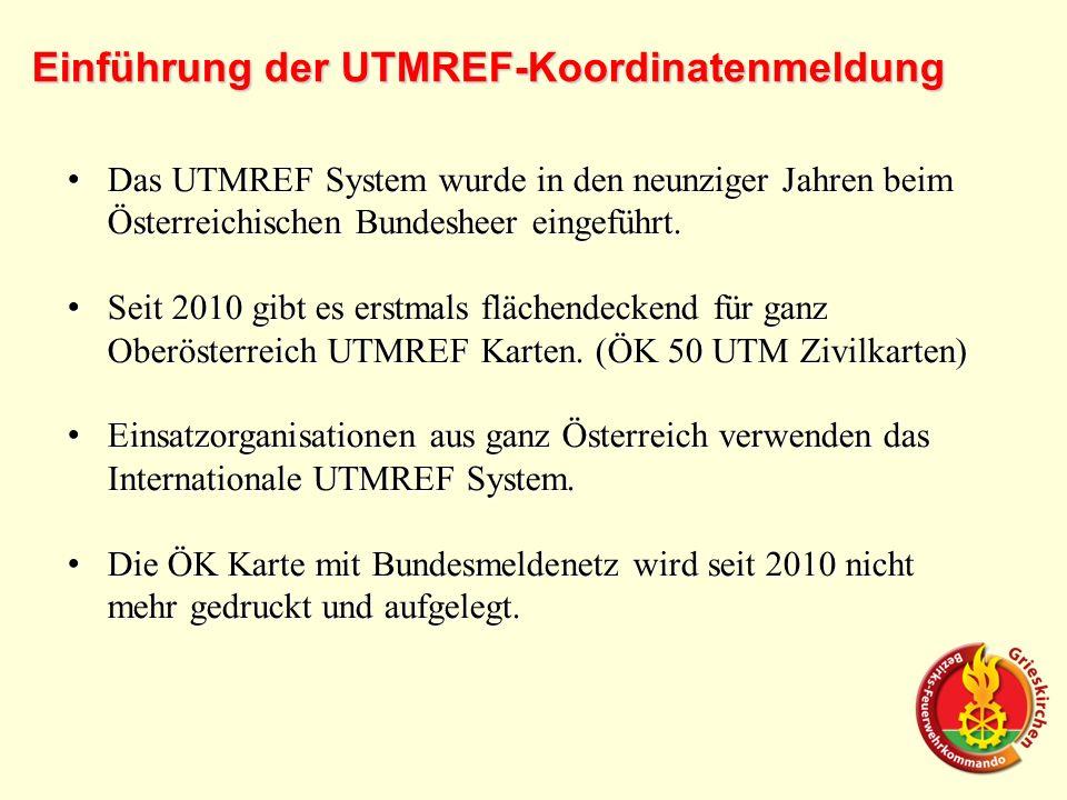 Einführung der UTMREF-Koordinatenmeldung