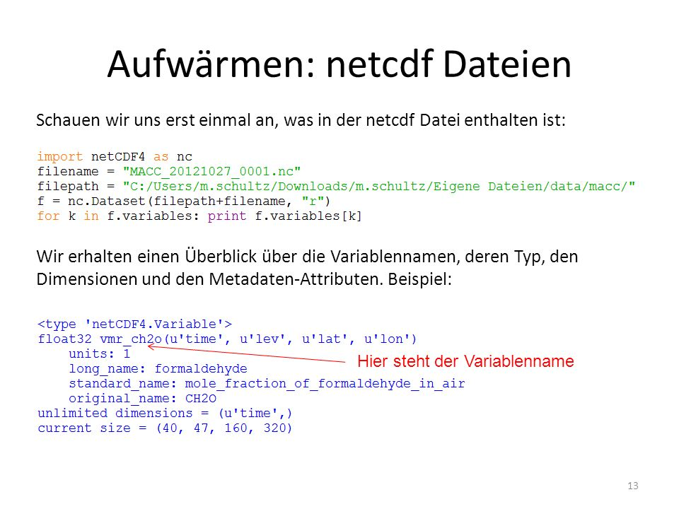 Aufwärmen: netcdf Dateien