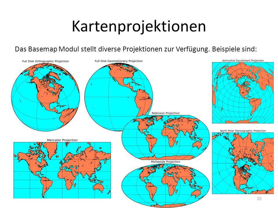 Kartenprojektionen Das Basemap Modul stellt diverse Projektionen zur Verfügung. Beispiele sind: