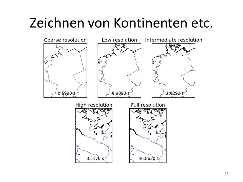 Zeichnen von Kontinenten etc.
