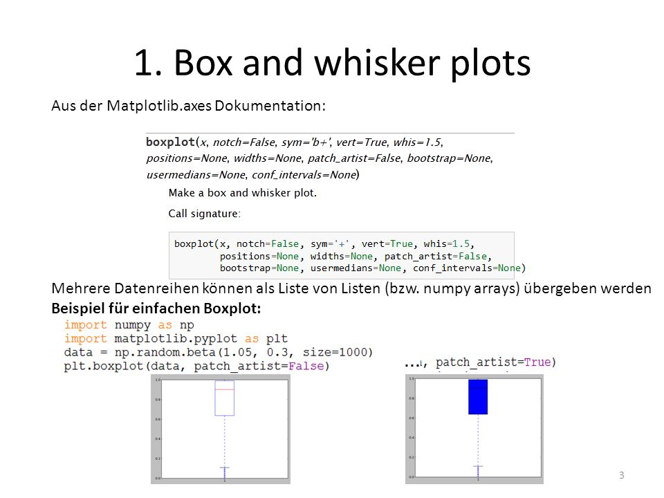 1. Box and whisker plots Aus der Matplotlib.axes Dokumentation: