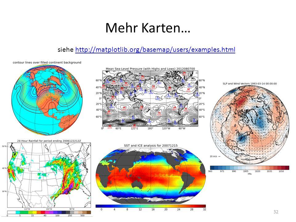 Mehr Karten… siehe http://matplotlib.org/basemap/users/examples.html