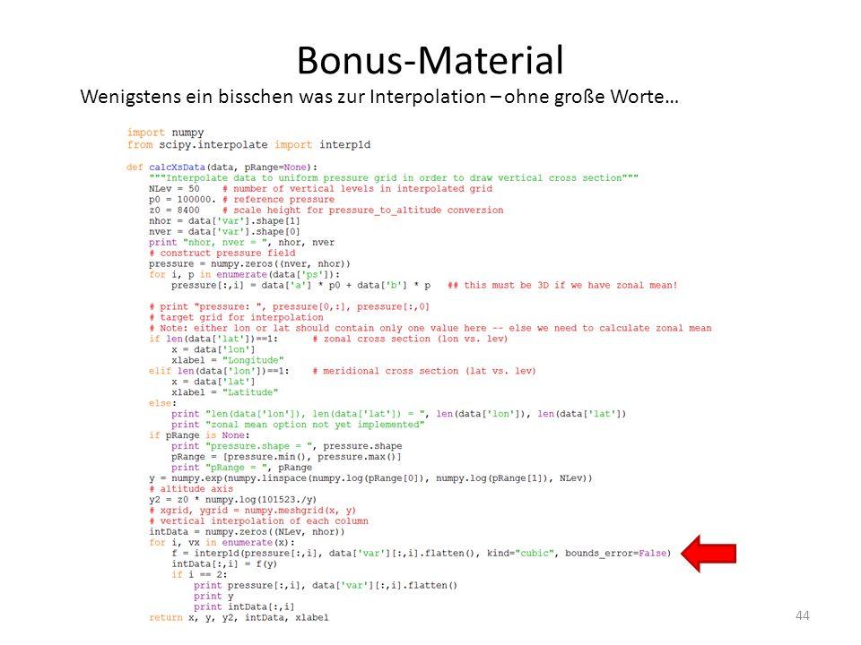 Bonus-Material Wenigstens ein bisschen was zur Interpolation – ohne große Worte…