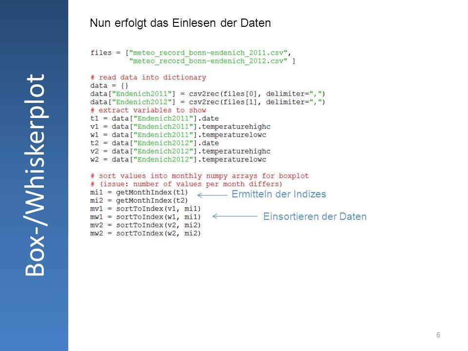 Box-/Whiskerplot Nun erfolgt das Einlesen der Daten